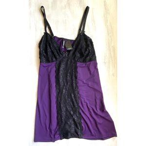 Torrid Babydoll Dark Purple Black Lace Center